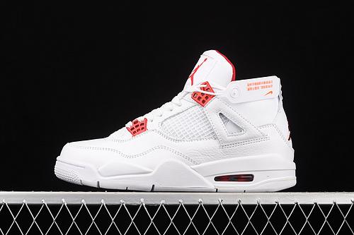 "J版 Air Jordan 4""Red Metallic""AJ4 乔4白红 头层篮球 CT8527-112"
