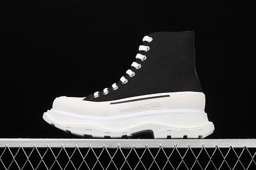 Alexander McQueen/亚历山大麦昆 2020新款 发售 松糕鞋高帮厚底增高帆布鞋 W4L329000