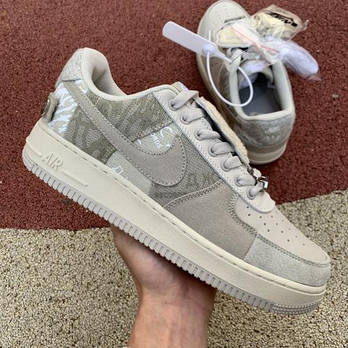 af1ts拼接灰白 Nike AF1 x Travis Scott TS联名 灰白 鬼脸拼接 CN2405-902 尺码:36-47.5