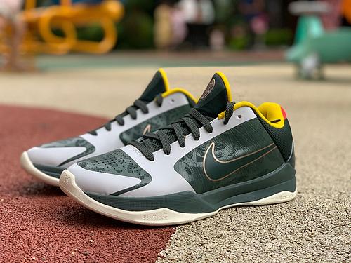 zk5灰绿 纯原版 NIKE Kobe 5 ZK5 EYBL Forest 科比5 灰绿 低帮篮球鞋 CD4991-300
