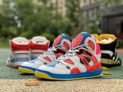 古驰白蓝粉拼接 gucci 古驰 21新款Basket 高帮拼色 篮球运动鞋 休闲鞋