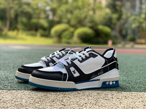 LV白黑蓝low 专柜级硬货lv/路易威登 21新款LV TRAINER 男高帮运动鞋 1A5QCH