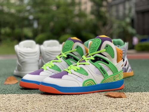 古驰白绿蓝橘拼接 gucci 古驰 21新款Basket 高帮拼色 篮球运动鞋 休闲鞋
