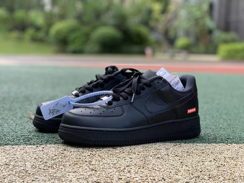 af1黑sup 纯原版Nike Air Force 1 Supreme AF1 空军一号 联名板鞋CU9225-001
