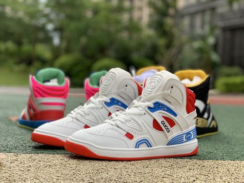 古驰白蓝红 拼接 gucci 古驰 21新款Basket 高帮拼色 篮球运动鞋 休闲鞋