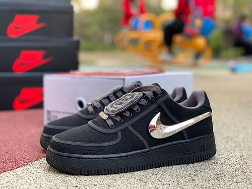 AF1 ts联名 黑魂 原版Travis Scott x Nike Air Force 1 Low 黑魂 黑色换钩aq4211-001 尺码:40-47.5 纯