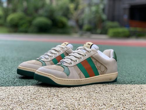 古驰脏鞋棕色 全套包装配件齐全GUCCI古驰Screener 做旧绿尾 粉尾 银线 网眼 小脏鞋脏脏鞋