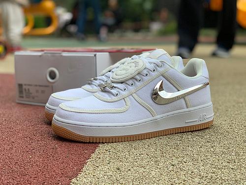 af1换钩TS联名 纯白 纯原版Nike Air Force 1 Low Travis Scott联名纯白银钩板鞋 AQ4211-100 尺码:40-47.5