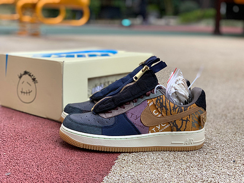 af1鬼脸ts拼接 Nike Air Force 1 x Travis Scott TS 联名鬼脸拼接 CN2405-900 尺码:36-47.5