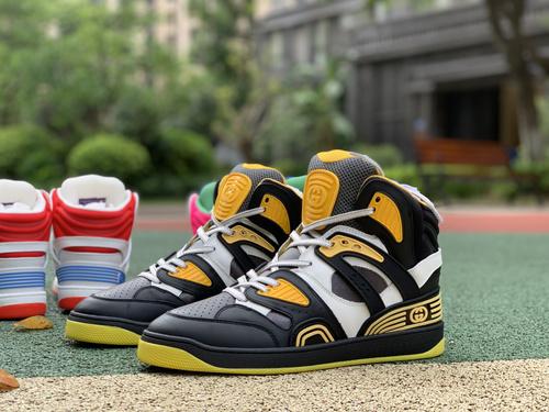 古驰黑黄拼接 gucci 古驰 21新款Basket 高帮拼色 篮球运动鞋 休闲鞋