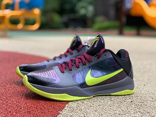 zk5小丑暗夜 纯原版 Nike Kobe 5 ZK5 小丑 暗黑 黑紫 暗夜 科比5 CD4991-001