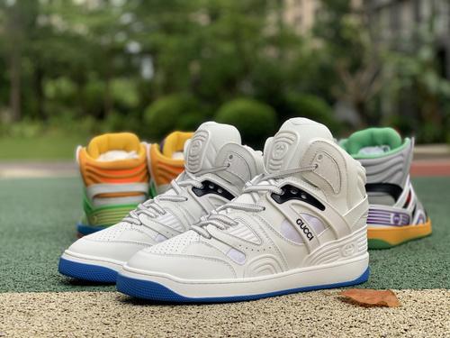 古驰篮球鞋白蓝 gucci 古驰 21新款Basket 高帮拼色 篮球运动鞋 休闲鞋
