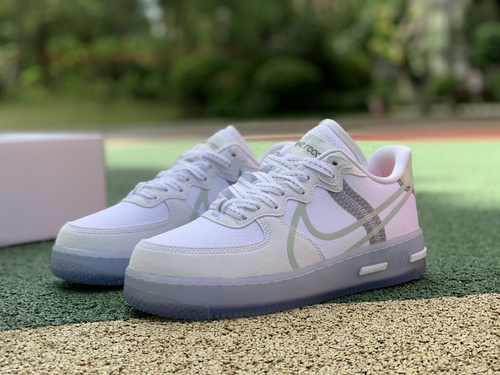 AF1冰蓝骨白 Nike Air Force 1 React QS AF1 骨白冰蓝解构板鞋男女CQ8879 100
