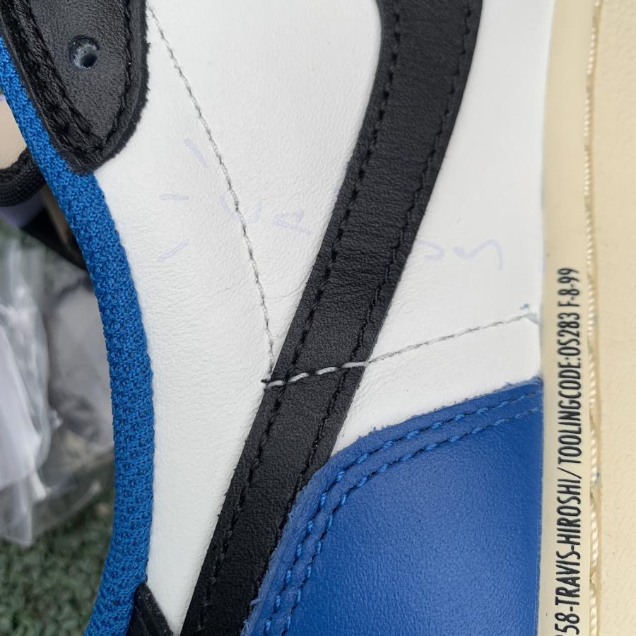 aj1倒钩闪电low 特供版 LJR出品 材料 Air Jordan 1 AJ1 倒钩白蓝藤原浩闪电TS低帮篮球鞋 DM7866-140
