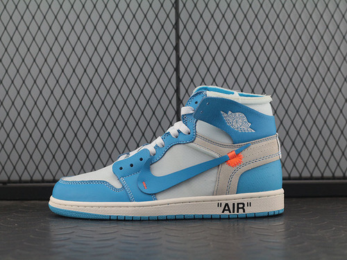 PK版Air Jordan 1 Off White AJ1 OW 白蓝 北卡蓝 联名 AQ0818-148
