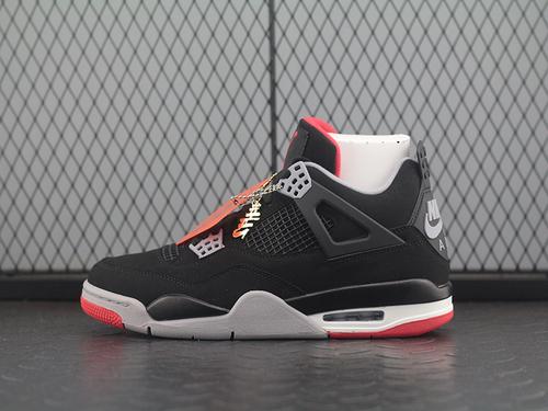 【H12】Air Jordan 4 Retro AJ4 乔4黑红麂皮 篮球鞋 308497-089