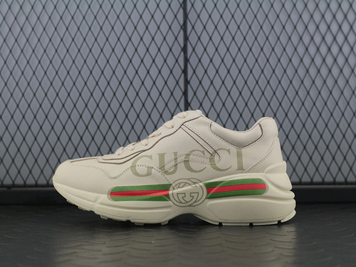 "Guci Rhyton Vintage Trainer Sneaker做旧皮革角状复古慢跑鞋""长条LOGO象牙白绿红""500877 DRW00 9522"