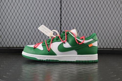 Off-White x Nike Dunk Low「Pine Green」扣篮系列板鞋白绿橘