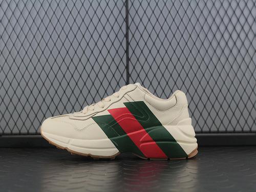 "Guci古驰 Rhyton Vintage Trainer Sneaker 皮革角状复古慢跑鞋""象牙白三切绿红绿""523535 DRW00 9022"