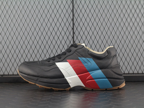 "高奢品牌Guci Rhyton Vintage Trainer Sneaker 皮革角状复古慢跑鞋""黑棕三切蓝红白""523535 DRW00 1000"