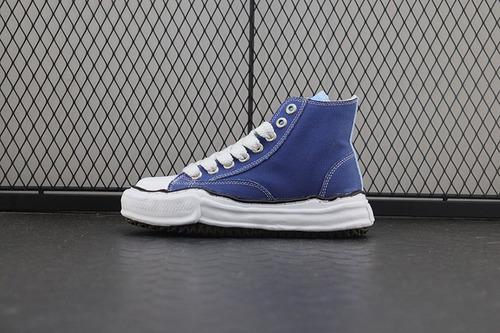 "Nigel Cabourn × Maison Mihara Yasuhiro High""Original Sole""变形 溶解 雪糕底 高帮 帆布鞋深蓝"