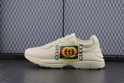 "Guci Rhyton Vintage Trainer Sneaker做旧皮革角状复古慢跑鞋""方形LOGO象牙白绿红""500878 DRW00 9522"