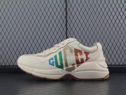 "Guci Rhyton Vintage Trainer Sneaker 皮革角状复古慢跑鞋""烫金亮粉LOGO""524990 DRW00 9022"