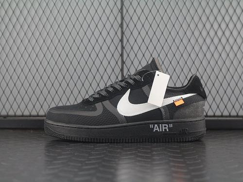 """Off-White x N Air Force 1 """"Black"""" 2.0空军一号低帮休闲运动板鞋""""OW全黑白橘""""AO4606-001"""