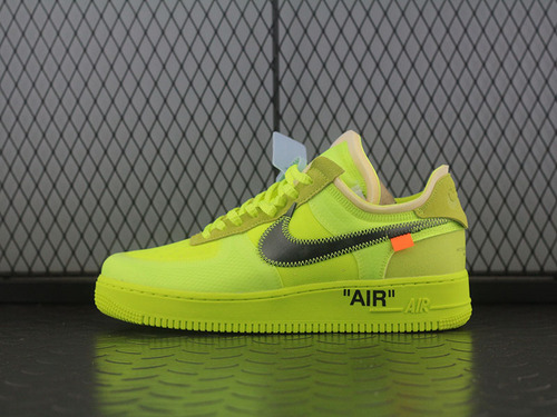 OG版Off White x Air Force 1 AF1 2.0 荧光绿OW联名板鞋 AO4606-700