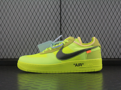 Off White x Air Force 1 AF1 2.0 荧光绿OW联名板鞋 AO4606-700