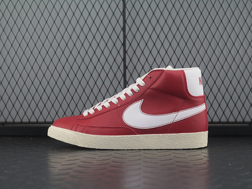 "Blazer mid Leather Vintage复古经典百搭中帮开拓者运动板鞋""酒红白""525366-601"
