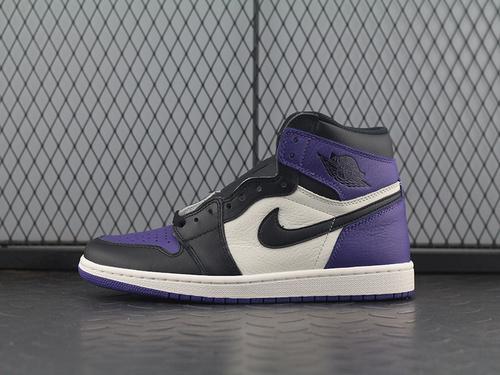 ST Air Jordan 1 Court Purple AJ1乔1 黑紫脚趾 篮球鞋 555088-501