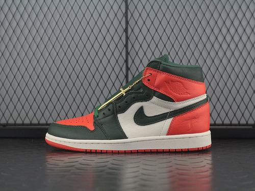 """球鞋店铺联名SoleFly x Air Jordan 1""""Miami Art Basel""""乔丹一代高帮运动文化篮球鞋""""迈阿密大宝剑""""AV3905-138"""