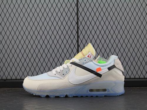 "OFF-WHITE x Nike Air Max 90 气垫慢跑鞋""OFF-WHITE 白灰冰蓝底""AA7293-100 男鞋"