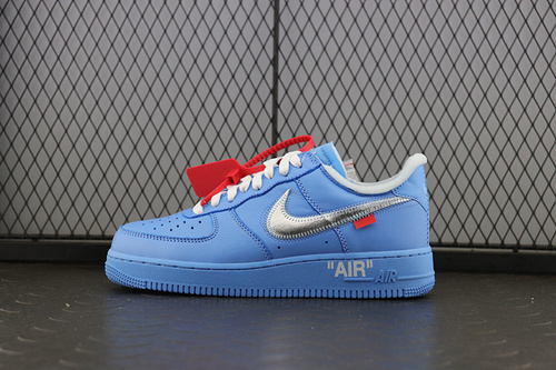【TOP】Off-White x Nike Air Force 1 '07 VIRGIL空军一号 OW 北卡蓝 银勾 CI1173-400