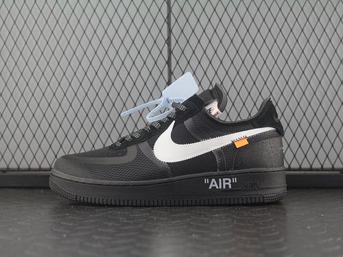 "OG版本 Off-White x N Air Force 1 ""Black"" 2.0空军一号低帮休闲运动板鞋""OW全黑白橘""AO4606-001"