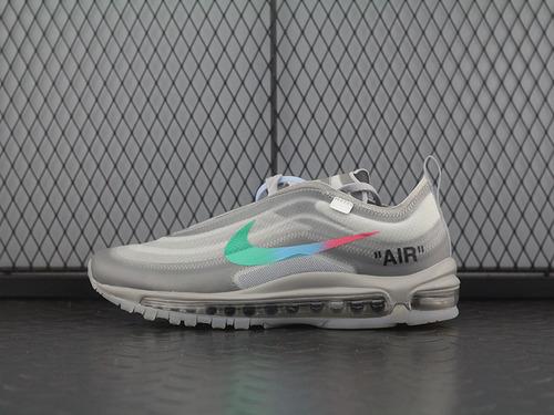 "Off White x Nike Air Max 97复古百搭慢跑鞋""暗灰彩虹勾""AJ4585-012"