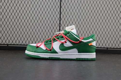 【H12】Off-White x Nike Dunk Low「Pine Green」扣篮系列板鞋白绿橘