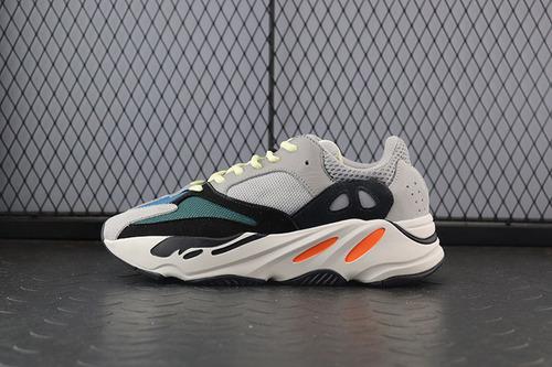 "【OWF版】Adidas Yeezy Runner Boost 700系列复古爆米花中底慢跑鞋""白灰黑水绿""B75571"