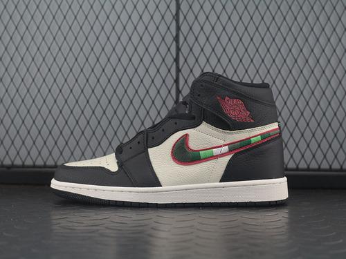 Air Jordan 1 RINGS AJ1 乔1 天生巨星绿格勾 男子篮球鞋 555088-015