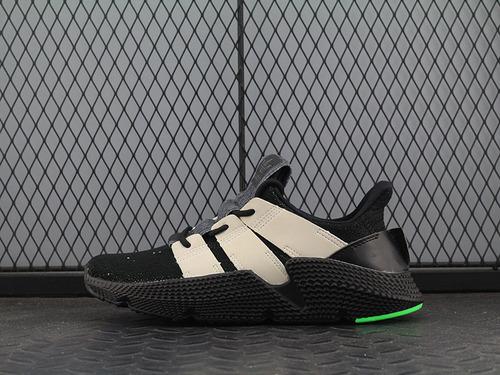 真标adidas 三叶草 Climacoo 黑/灰白/莹光绿 B37462