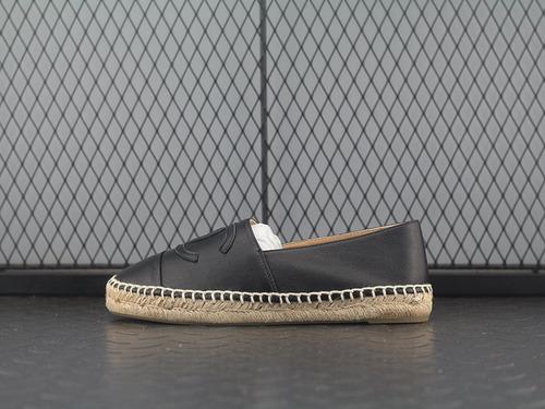 """渔夫鞋羊皮款布款!休闲女鞋双C拼色厚底乐福鞋""""全黑皮""""C180414B"""