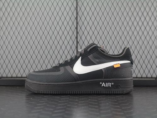 """Off-White x  Air Force 1 """"Black"""" 2.0空军一号低帮休闲运动板鞋""""OW全黑白橘""""AO4606-001"""