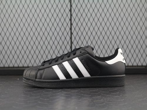 adidas阿迪达斯三叶草贝壳头全黑白标 男女板鞋B2714014