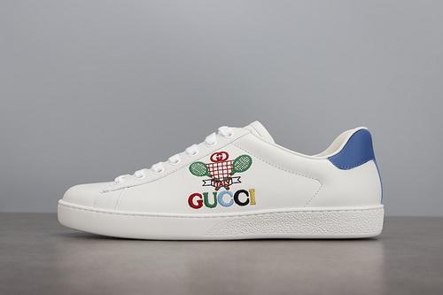 GUCCI Ace Embroidered Low-Top Sneaker 拼色刺绣系列低帮潮流板鞋 乒乓球拍