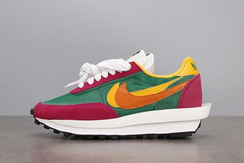 TOP Sacai x Nike LVD Waffle Daybreak 联名走秀款 网纱皮面拼接 解构双钩双标双鞋带Swoosh跑步鞋 BV0073-301