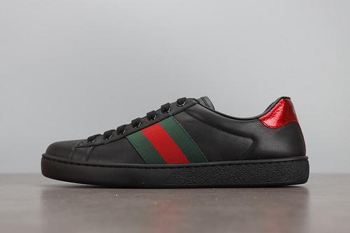 DJ版 GUCCI Ace Embroidered Low-Top Sneaker 拼色刺绣系列低帮潮流板鞋 黑红