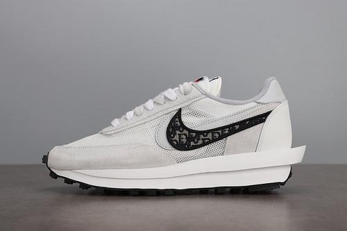 Sacai x Nike LVD Waffle Daybreak 联名走秀款 网纱皮面拼接 解构双钩双标双鞋带Swoosh跑步鞋 CN8898-002