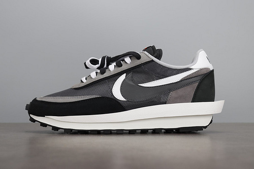 TOP Sacai x Nike LVD Waffle Daybreak Black\White 联名走秀款 网纱皮面拼接 双勾Swoosh跑步鞋  BV0073-001