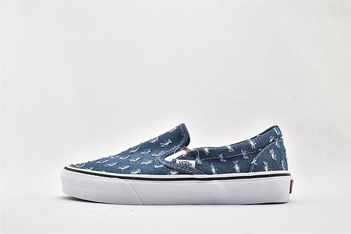 Vans/万斯 Sip-On Pro 低帮滑板鞋/一脚蹬 牛仔蓝  做旧 硫化底 原标原盒  男女鞋  情侣款